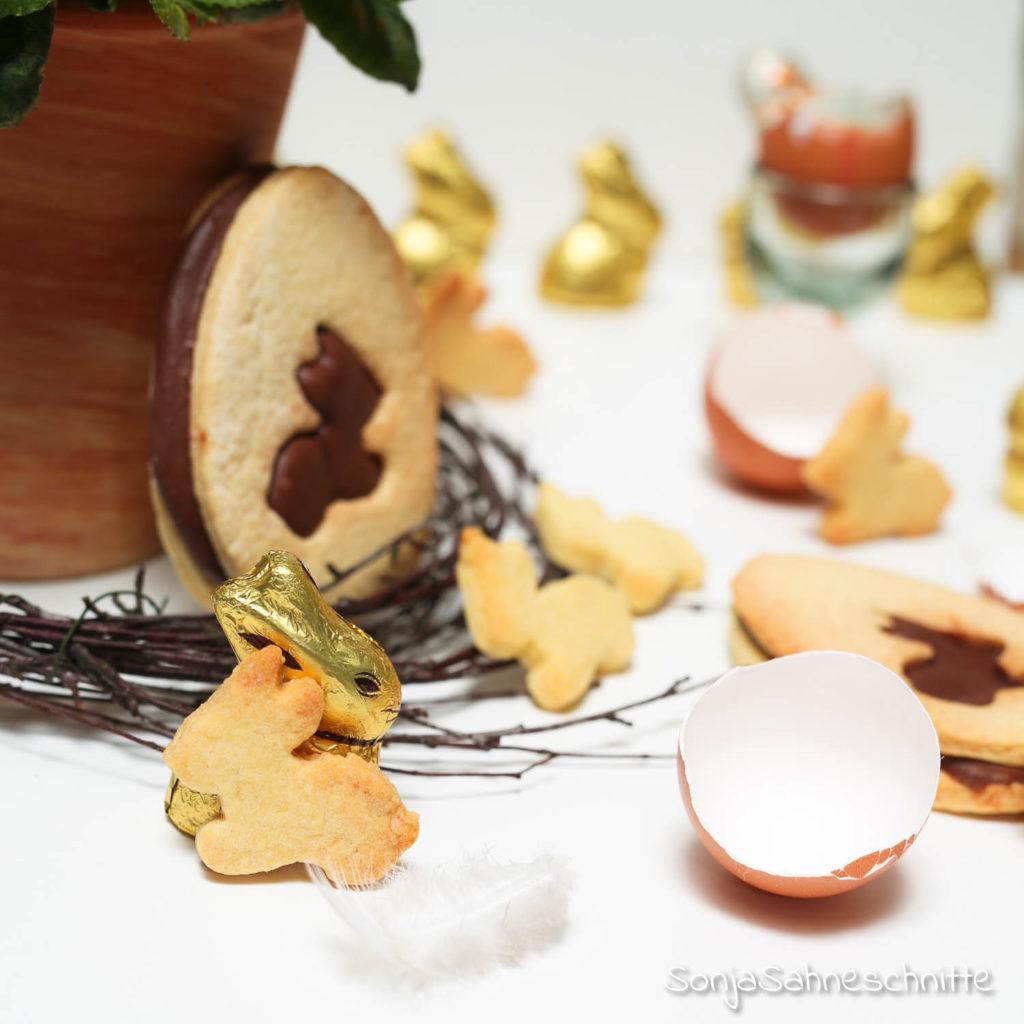 Rezept für Mürbteig-Oster-Kekse mit Mandel-Nougat zum verschenken oder selber naschen nicht nur beim Osterbrunch
