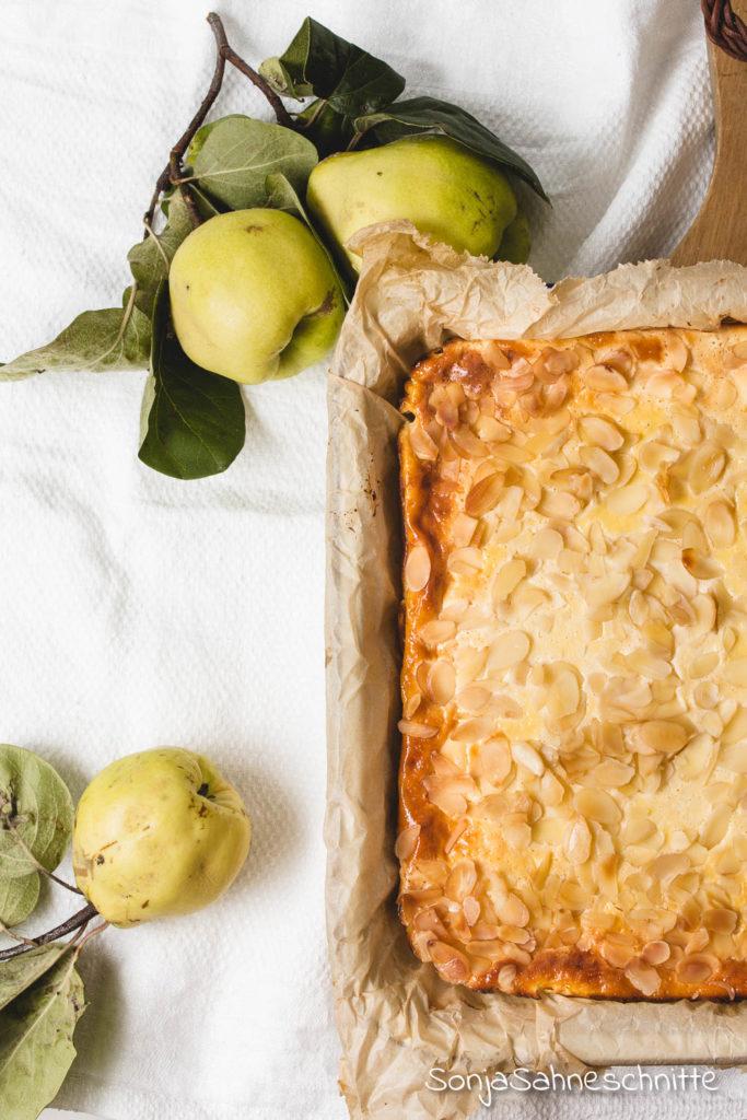 OMG diesern einfachen Quittenkuchen mit Quark und Mandeln müsst ihr backen. Saftige Quitten treffen auf eine dicke cremige Käsekuchenschicht mit Quark und zur Krönung gibt es auch noch knusprige Mandeln oben drauf. #quitten #rezept #quark #mamdeln #einfach #kuchen #käsekuchen