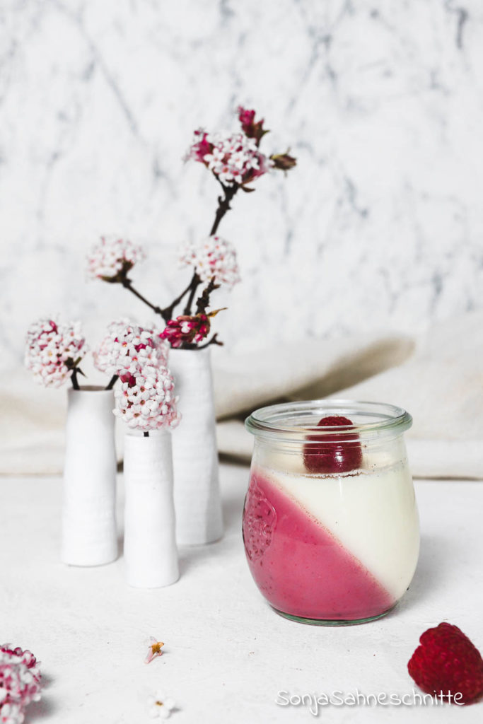 Einfaches Panna Cotta Rezept mit Himbeeren und Vanille - ohne Gelatine #süßesachen #selbermachen #ohne Gelatine# Agaragar #imGlas